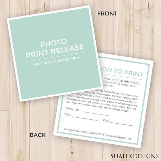 Photography Forms--- Templates for Photographers - Invoice, Image - photographer release forms