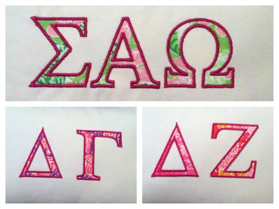 Embroidered greek preppy sorority letters only lilly for Lilly pulitzer sorority letters