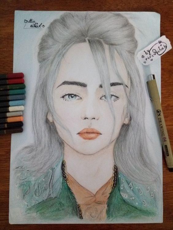Billie eilish drawing with coler pencil by riri rihab