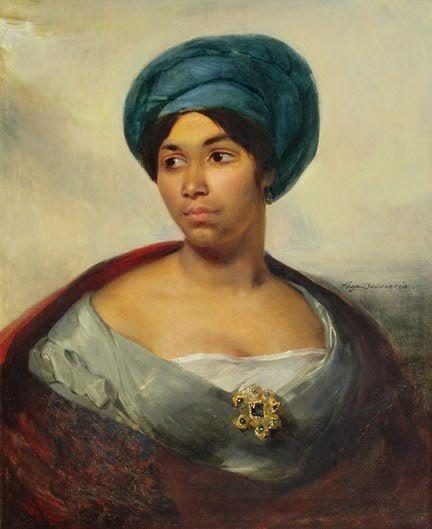 """Woman in a Blue Turban"" (c. 1827) Ferdinand Victor Eugène Delacroix. Oil on canvas. Dallas Museum of Art, Texas, USA.:"