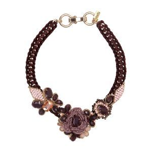 Flower Necklace in Plum and Pink