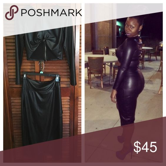 2 Piece Faux Leather Outfit Spandex 2 piece faux leather set. Slit in the front of the skirt. Very tight around curves. Skirt scrunched near midsection. LIGHTLY WORN! Skirts Skirt Sets