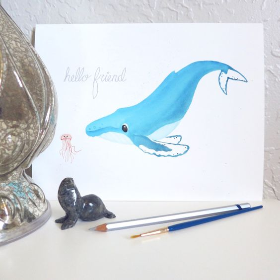 Cute nursery decor for a whale or ocean theme nursery