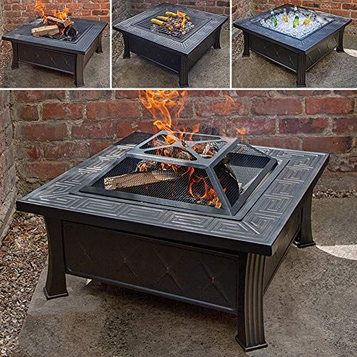 3 in 1 Outdoor Garden Fire Pit BBQ Brazier Square Tile Stove Patio Heater New
