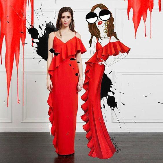 F f red dress emoji