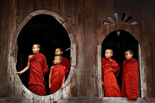 Buddhist novices in a temple, Myanmar by Eric Lafforgue