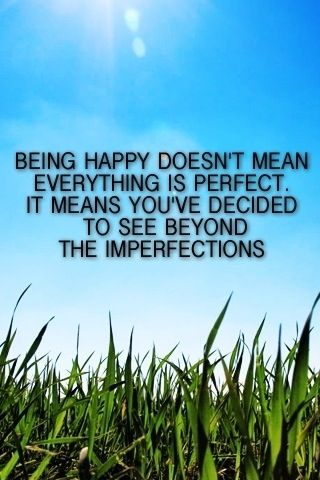 Being happy doesn't mean everything is perfect. It means you've decided to see beyond the imperfections.