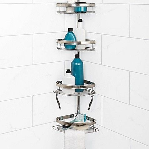 Zenna Home Tension Corner Pole Shower Caddy In Chrome Corner Shower Caddy Shower Organization Shower Caddy