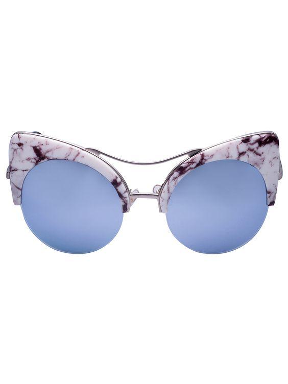 Marble Print Mirror Lens Cat Eye Sunglasses