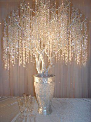 Reception: Manzanita crystal tree Centerpieces . :  wedding Tree 3