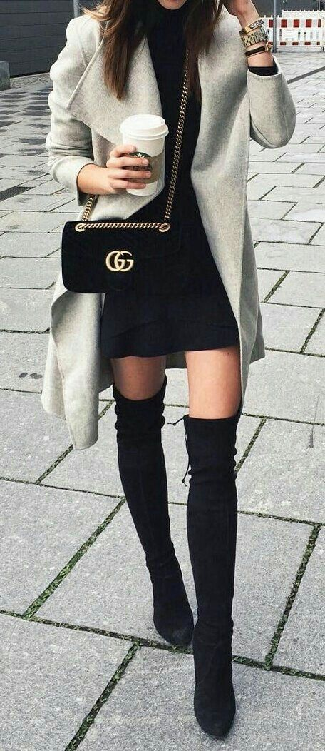 Overknee shoes boots black mini slip lace cami or other dress midi coat chain shoulderbag bag fall cosy everyday