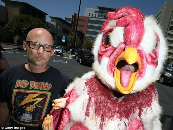 Standing up: Moby put his star power behind his meat-free beliefs in Hollywood on Friday afternoon, protesting outside of a supermarket