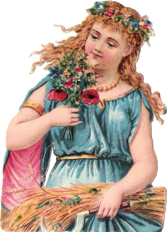 Oblaten Glanzbild scrap die cut chromo Dame lady girl Korn Mohn Blume Sommer: