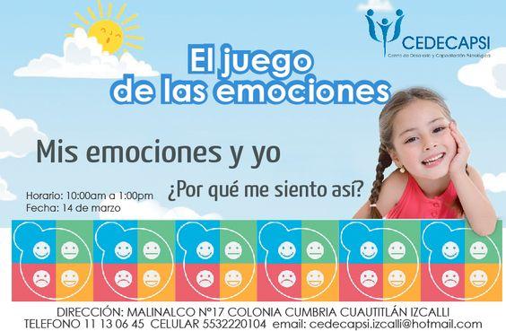 Una forma de abordar la expresión emocional es mediante juegos y actividades diseñadas para permitir que los niños se diviertan mientras aprenden a interactuar desde lo emocional.  Sábado 14 de marzo de 10 a 13hrs.  Informes al Tel. 11 13 06 45  ¡¡¡PREVIA CONFIRMACIÓN!!!