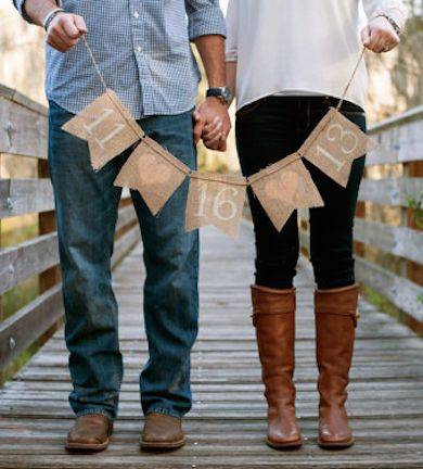 burlap banner save the date