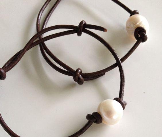 Leather and Freshwater Pearl Bracelets by MermaidsDesignStudio, $20.00