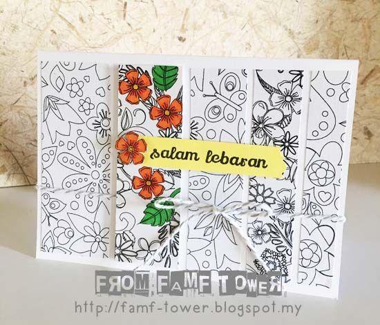 Hari Raya Card Eid Mubarak Card Syawal Card Kad Hari Raya Diy Diy Card Using Colouring Pages Or Colo Paper Craft Projects Diy Cards Greeting Cards Handmade