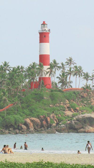 Lighthouse on Kovalam Beach, Trivandrum, Kerala India