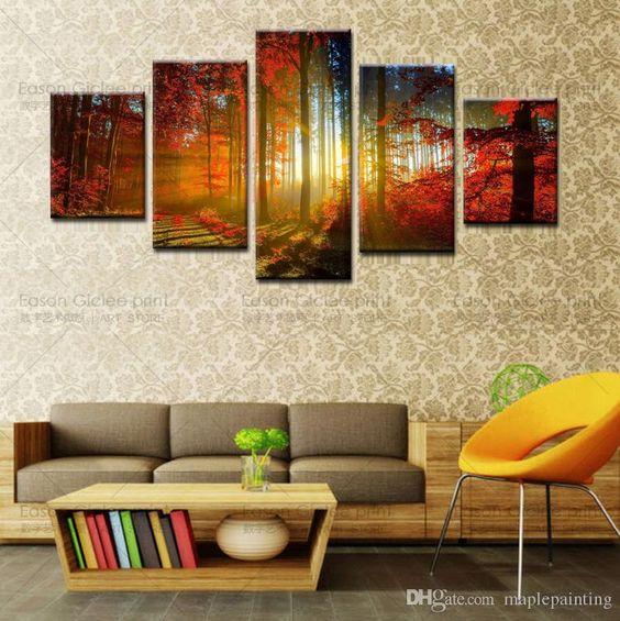 Venta Al Por Mayor 5 Panel Bosque Pintura De La Lona Arte De La Pared Del Hogar…