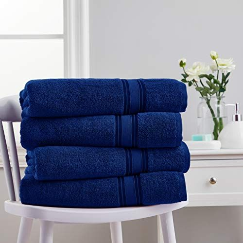 Spirit Linen Home 4pc Cotton Bath Sheets Towels Set Super Soft Zero Twist Quick Dry Water Absorbent Home And Gym Towel 2 W In 2020 Blue Towels Towel Set Home Furniture
