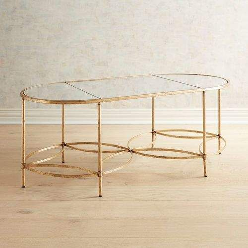 Pier 1 Imports Fleur Golden Mirrored Coffee Table Mirrored