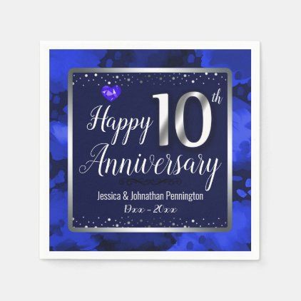 Happy 10th Wedding Anniversary Napkins Zazzle Com In 2020 65th Wedding Anniversary 10th Wedding Anniversary Wedding Napkins