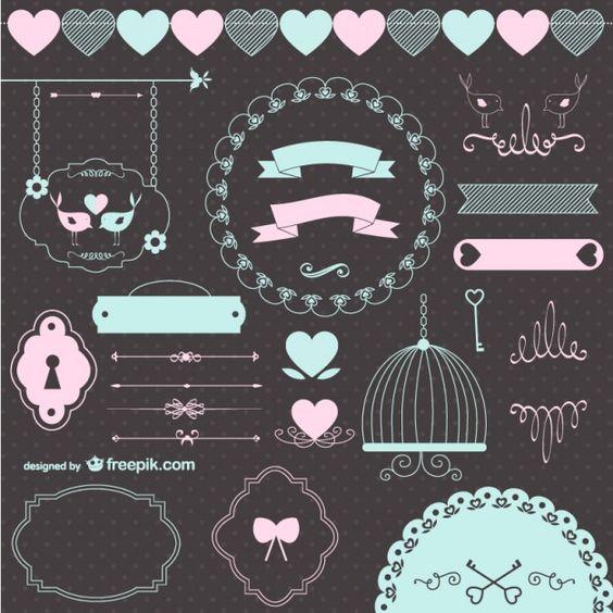 Elementos gráficos retro de boda