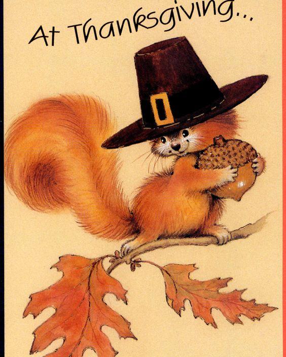 Perky Pilgrim Squirrel with Acorn Harvest Thanksgiving Greeting Card | eBay: