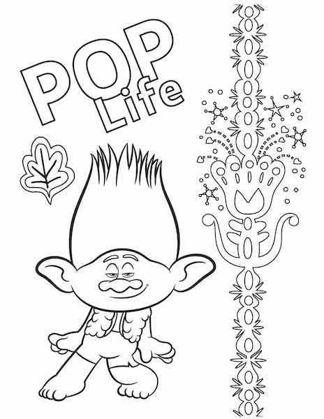 Free Printable Trolls World Tour Coloring Pages Party Ideas Any Tots In 2020 Coloring Pages Branch Trolls Trolls Movie