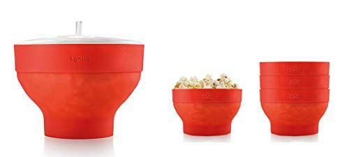 Oferta De Black Friday Lékué Xl Popcorn Set Para Microondas Con Un Molde De Silicona Y 4 Boles Colapsables Color R Moldes De Silicona Bol Microondas