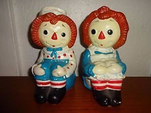 1978 Bobbs Merrill Determined Productions Raggedy Ann Andy Bookends Ceramic   eBay