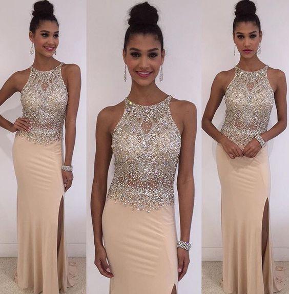 Blush pink Beaded Prom Dress, Long 2016 prom Dress, Sexy Prom Dress, dresses for Prom, sexy prom dresses 2016, fashion prom dresses, CM851