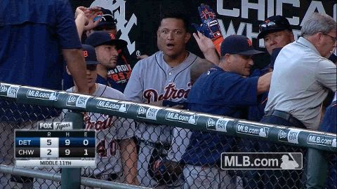 Miggy was REALLY excited about Justin Upton's home run last night.