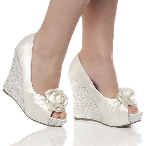 Details about WOMENS WEDDING PLATFORM WEDGE LADIES BRIDAL SANDALS ...