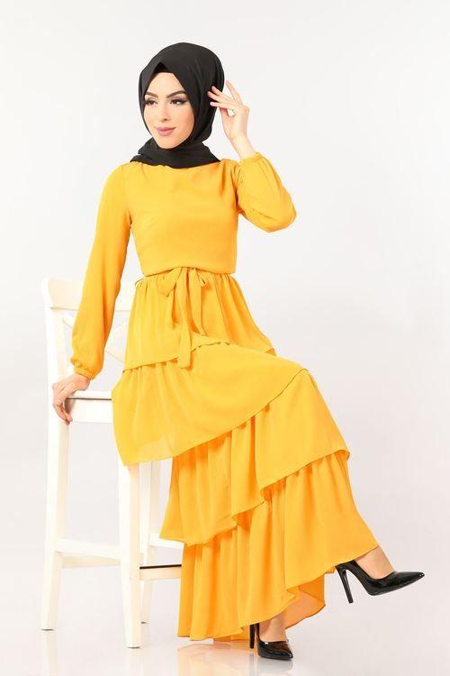 Modaselvim Elbise Firfirli Kemerli Elbise 5000ef311 Sari Moda Elbise Kiyafet
