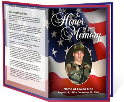 free funeral program templates military or patriotic funeral - free obituary program template