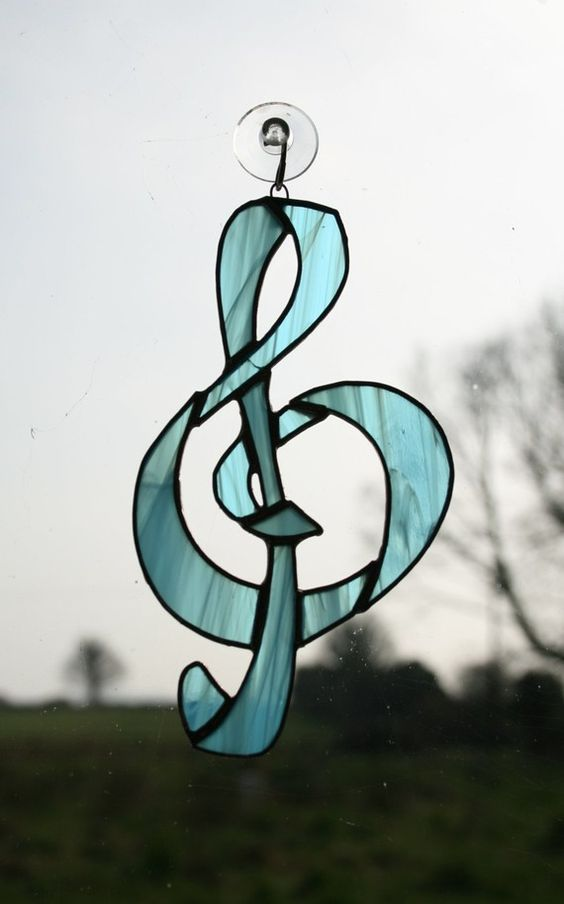 Treble Clef Music Suncatcher Stained Glass by StainedGlassFayre