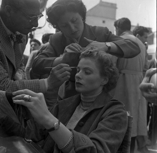 "Ingrid Bergman on the set of Roberto Rossellini's ""Viaggio in Italia"""