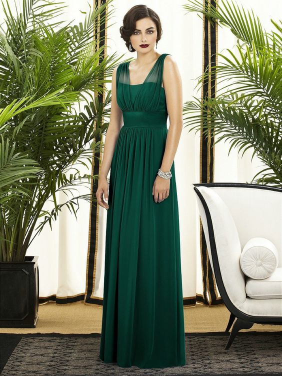 Bridesmaids, chiffon, dresses, green: