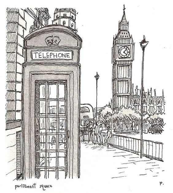 Pete Scully--LONDON | Sketchbook Art | Pinterest | Big Ben City Illustration And London Bus