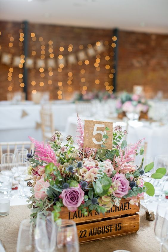 Crate Flowers Pink Hessian Table Number Pastel Country Garden Wedding http://www.katherineashdown.co.uk/