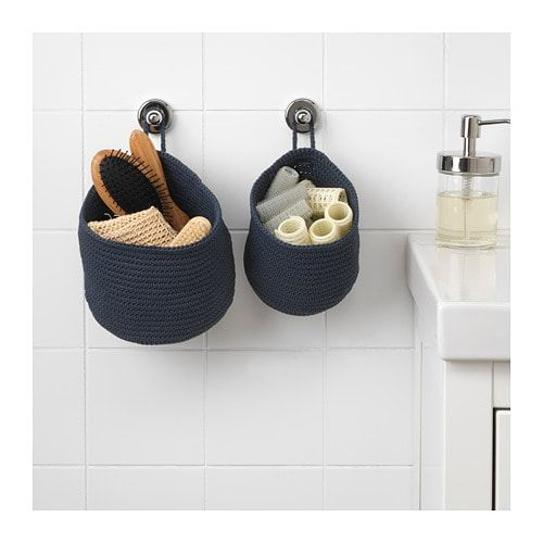 Nordrana Basket Set Of 2 Blue Ikea Bathroom Baskets Ikea Basket Hanging Storage