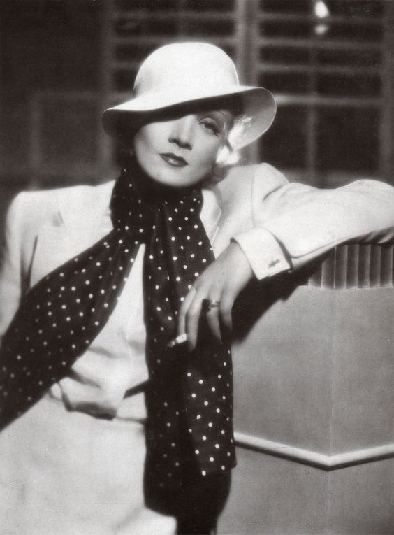 Marlene in Travis Banton ensemble  and a completely perfect hat
