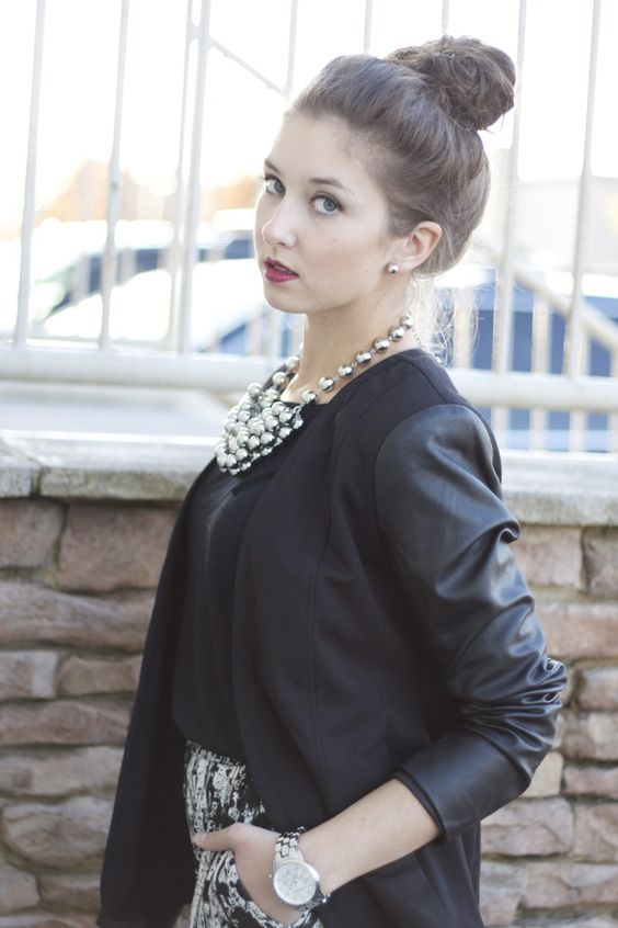 black blazer with faux leather sleeves, chunky necklace