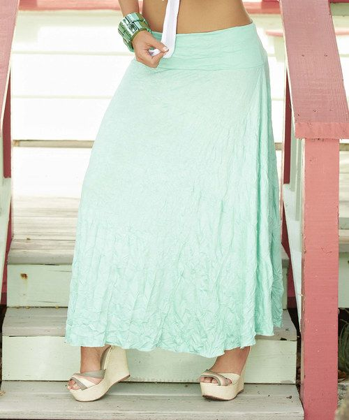 Take a look at the Mint Crinkle Maxi Skirt on #zulily today!