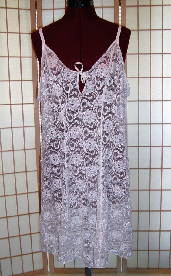 Sexy Fredericks of Hollywood Sz 3X White Lace Stretch Nylon A Line Lingerie Gown…