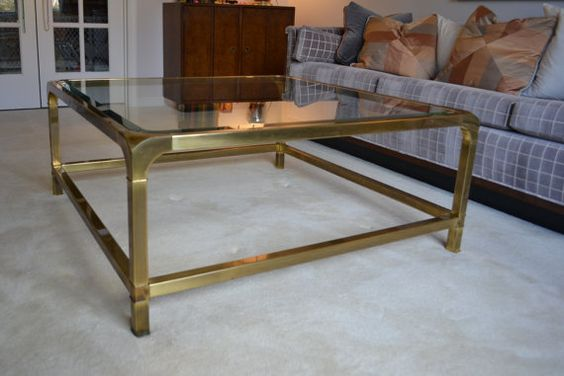 40 Square Brass and Glass Coffee Table Mastercraft by krcullen, $495.00