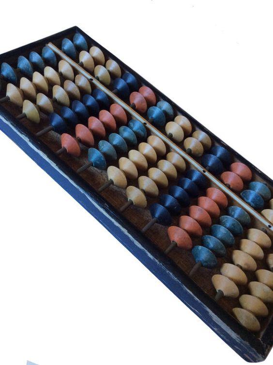 Vintage Daruma Wood Multi Color Abacus by JacobandCharlies on Etsy