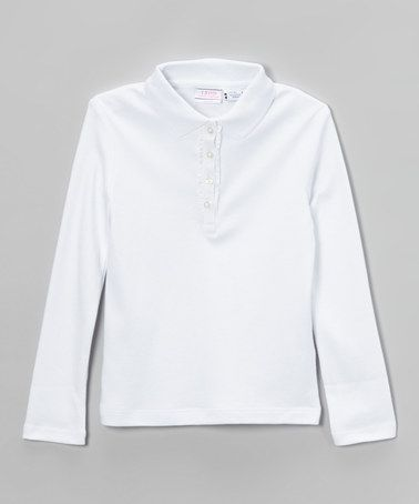 Look what I found on #zulily! White Ruffle Long-Sleeve Polo - Girls by IZOD #zulilyfinds