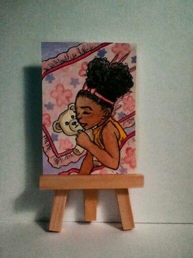 ACEO mixed media. Illustrative art, titled Sleepy Head.